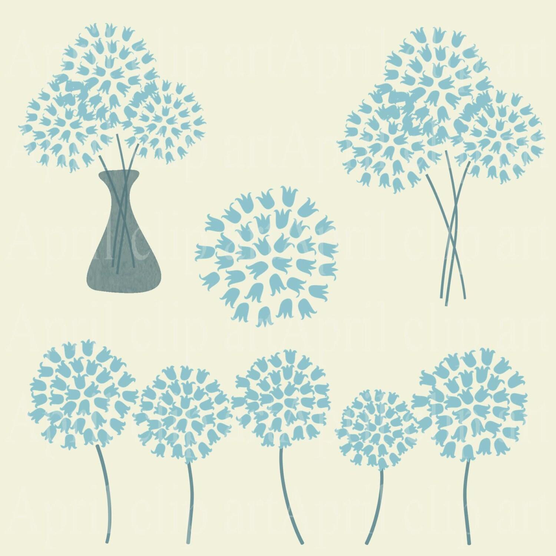 4 Pastel Blue Flower clipart Hydrangea like Clip Art Flower