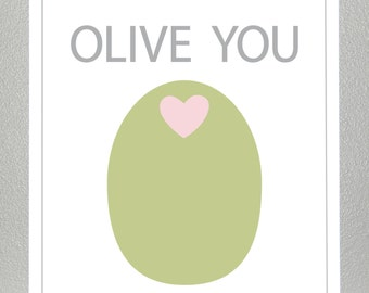 Nursery wall art - Olive You -  8x10 print