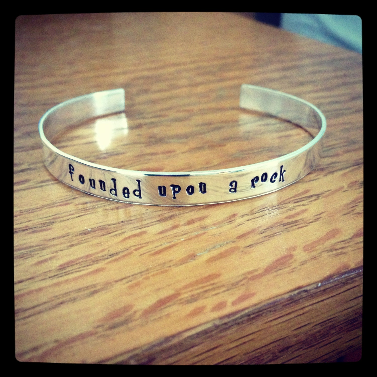 Founded Upon A Rock Hand Stamped Sterling Silver Cuff Bracelet Gamma Phi Beta