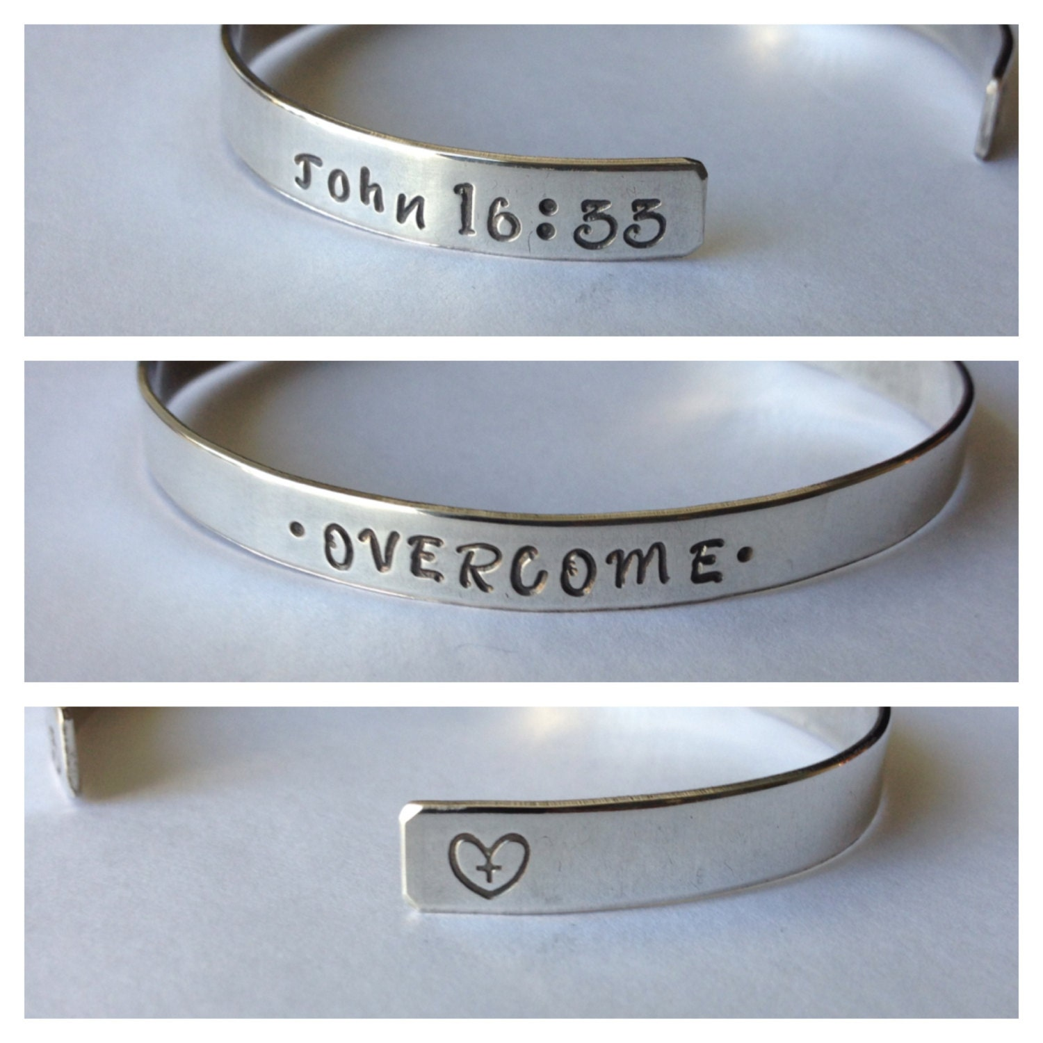 """Religious """"Overcome"""" Sterling Silver Hand Stamped Cuff Bracelet"""