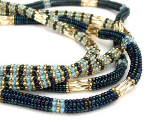 Beaded Necklace, Statement Long Necklace, Blue & Gold Embellished Rope