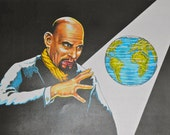 Rare Illustration of Anton LaVey by Nick Bougas