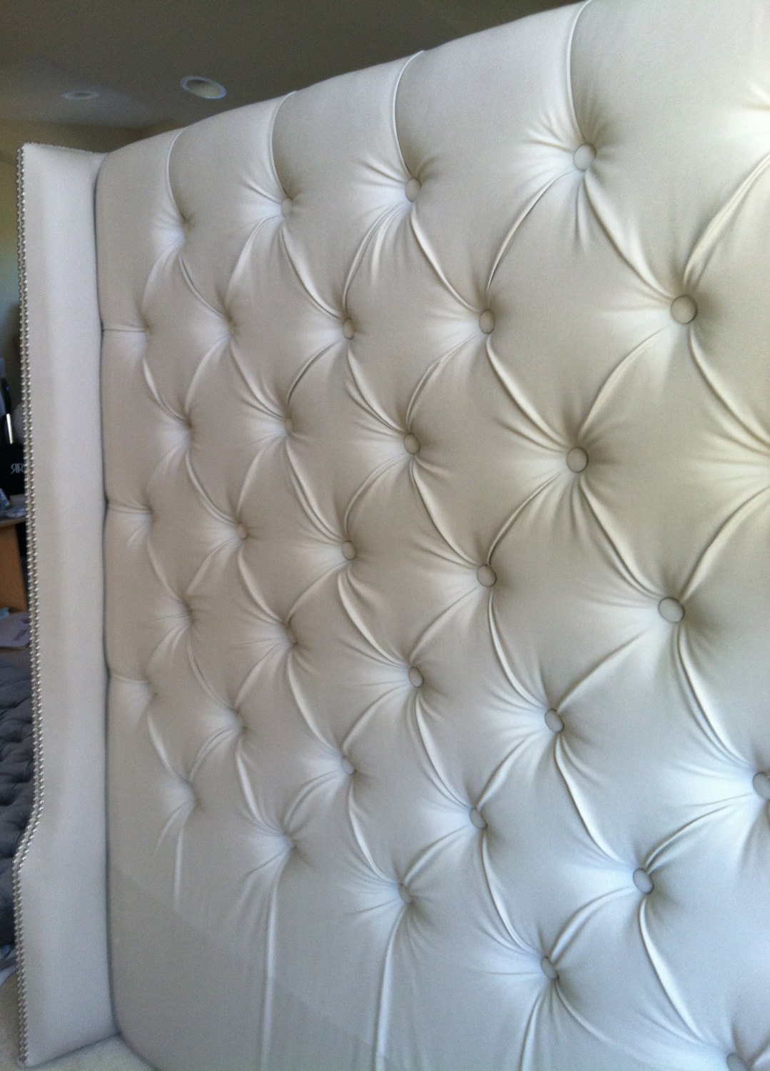 Diamond Tufted Twill Wingback Headboard King By