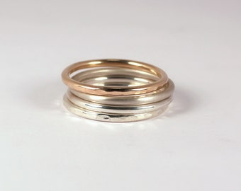 Silver and Gold Mixed Stacking Set, Sterling Silver, 14k Gold Fill, Made to Order
