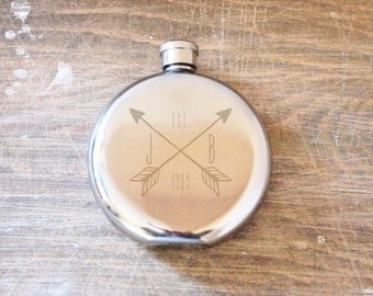 The Craftsmens Flask - Customized Hip Flask, Initials and Dates, Wedding flask, hand engraved circular  flask
