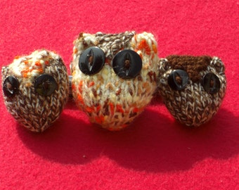 """HAND KNITTED Owl Toys - """"Little Hoots"""" or  """" Toowit and Toowoo"""" with Mamma Hoot. - Stuffed Toys (Will be made to order)."""