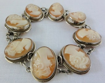 Vintage Cameo Bracelet Eight Hand Carved Left Facing Shell Cameos 7 Inches Long Belle Epoque 1920's-30's Hidden Slide In Clasp 800 Silver