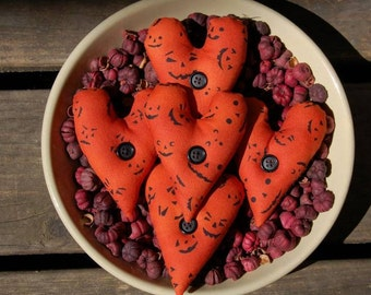 Primitive Fall Halloween Heart Ornies with Black Buttons