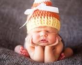 Crochet Baby Candy Corn Hat -- Halloween