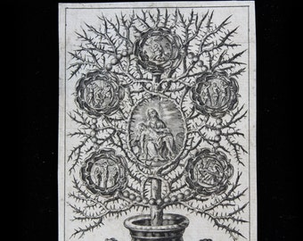 MercurysMoon-Antique  Holy Card-Outstanding Engraving of the Pieta & Scenes From the Trials of Christ In A Thorny Flowering Plant