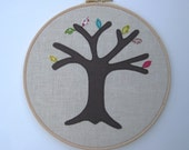 "Wedding anniversary gift - a perpetual wedding tree - add a new leaf for each year of marriage. Applique tree in 8"" wooden hoop frame"