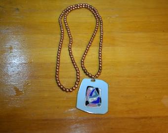 Vintage 1970's copper & Enamel necklace
