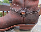 Boot Charm made with  Amber Bead and a Chunky Gun Metal Chain.