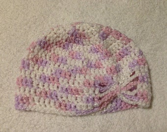 3-6 Months Purple and white baby girl Crochet Hat