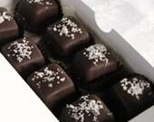 Chocolate Covered Caramels Fleur de Sel Salt Artisan Candy Homemade Dipped Enrobed 16 Oz.