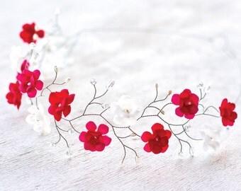 51_Flower crown, Hair accessories, Red flower crown, White flower crowns, Silver headpiece, Red hair accessories, Bridal hair accessories