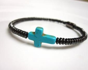 Turquoise Sideways Cross Magnetic Hematite Bracelet