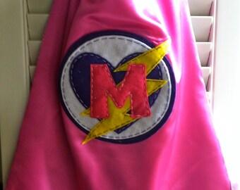 Pink Superhero Cape -PERSONALIZE/CUSTOMIZE - Superhero Costume Heart & Lightening Bolt- Superhero Birthday Party
