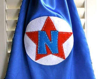 Kids Superhero Cape- PERSONALIZE/CUSTOMIZE - STAR Boys Superhero - Choose the Initial - Superhero Birthday Party Costume