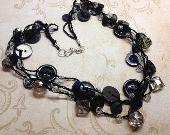Black Smokey Button Necklace