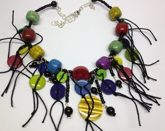 Bright Wood, Bead, Button & String necklace