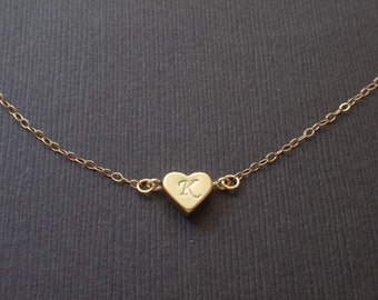 Personalized Initial Heart gold necklace.- with 14k gold filled chain. Familly necklace, Love necklace