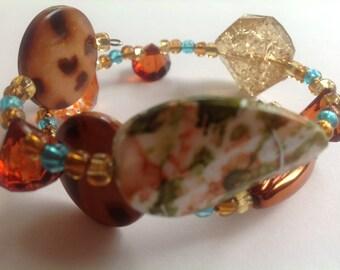 Wrap Bracelet, Brown Bracelet, Clear Multi bracelet, Bracelet