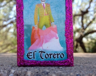 Loteria Day of the Dead Matchbox, El Torero (bull fighter) and Los Gallos (rooster fighters)