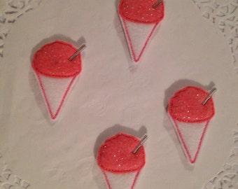 Snow Cone with straw mini Applique Felt-set of 4