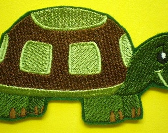 Embroidered Turtle Iron On Applique Patch, Childrens Applique, Clothing, Bags, Home Decor, Green Turtle