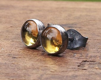 6mm Citrine Gemstone Stud Post Earrings Fine Sterling Silver Oxdizied - Little Bits of Color
