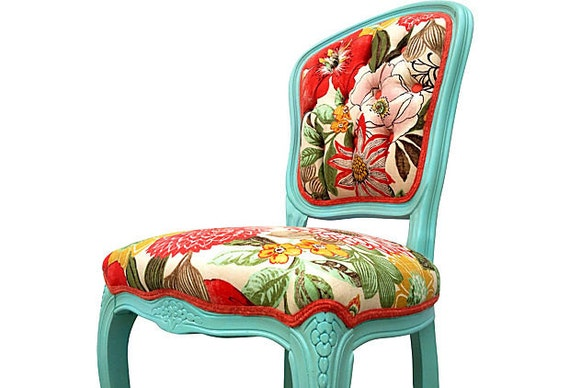 upholstered french side chair colorful aqua floral by