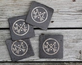 initial monogram arrow oil rubbed bronze stone coasters custom initial coasters favor rustic wedding gift groomsman gift