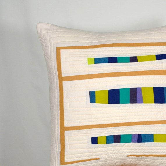 Modern Pillow, Quilted Pillow, Pillow, 18x18, Neutral, Blue