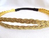 Gold Headband, Stretchy Headband, Gold Rope Headband