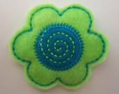 Lime Green and Blue felt flower barrette,  girls hair accessories, hair barrettes, hair clips