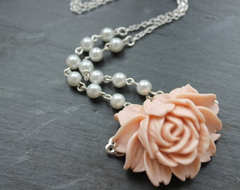 Rose Filigree Flower and Pearl Necklace-Dusky Pink Shabby Chic Vintage Inspired Jewelry- Silver Plated Chain