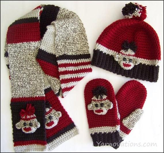 Sock Monkey Hat/Beanie Mittens Scarf Crochet Pattern