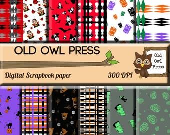 Digital scrapbook, digital paper, 12 by 12,  halloween paper, hand drawn paper,  Digital Scrapbook,, Paper Pack, instant download