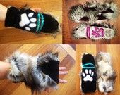 """Fully Customizable """"Glittens"""" Furry Fingerless gloves with button back mittens and paw prints"""