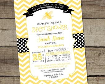 "DIY Custom Printable ""HoneyBee"" Baby Shower Invitation"
