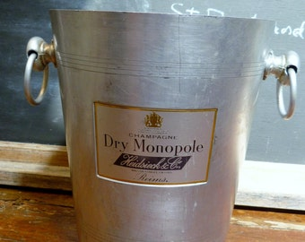 French Vintage Champagne ice Bucket Champagne Heidsieck Monopole Advertising Hotel / Bistro Ware