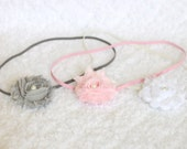 Baby Girl Headband Set in Gray, Pink, & White - Baby Girl Gift - Baby Shower Gift - Baby Headband - Infant Headband - Coming Home Outfit