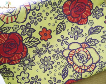 Blooming Roses in Lime - Japanese Fabric - 1 Yard