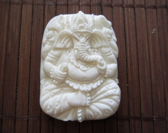 Deep Relief hand carved Ganesha ,Ox Bone carving, Jewelry making Supplies S2908