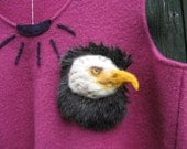 "Totem, power animal, eagle, felted eagle, brooch, 14 x14cm, 5.51 "", head, white,"