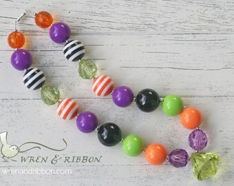 Halloween Necklace - Witch Costume Halloween - Girl Toddler Baby Infant Newborn Chunky Jewelry