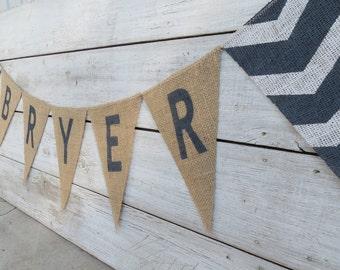 Chevron Burlap Name Banner / Nursery Decor