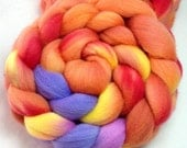 Hand Dyed Spinning Fiber Polwarth Combed Top (Roving) 4 oz. 081013 OOAK