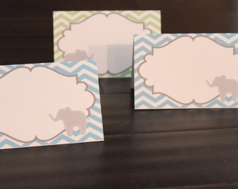 PREPPY CHEVRON ELEPHANT Baby Shower or Happy Birthday Buffet Cards Table Tents Food Labels Signs {Set of 8} - Party Packs Available